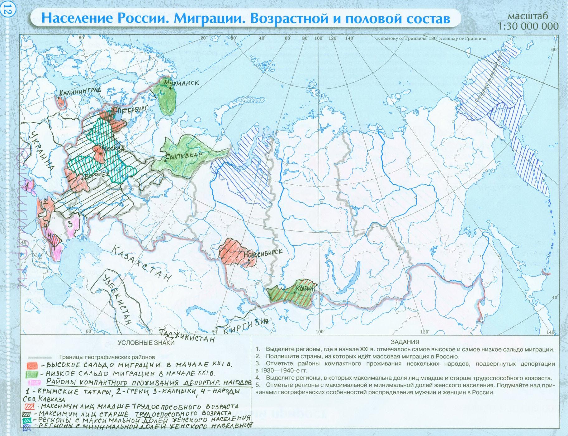Готовые контурные карты по географии 8 класс внутренние воды