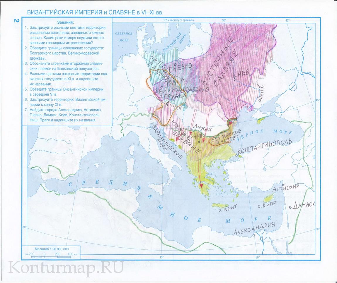 Готовая домашняя работа по контурной карте истории средних веков 6 класс